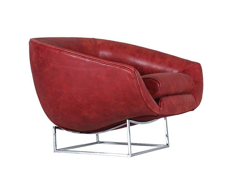 Milo Baughman Leather and Chrome Tub Chair for Thayer Coggin 5