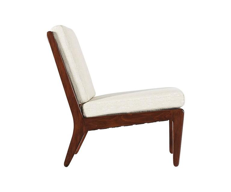 """Designer: Edward J. Wormley Manufacturer: Drexel """"Precedent"""" Period or style: Mid-Century Modern Country: United States Date: 1947  Dimensions: 31 H x 24 W x 33 D Seat Height 17.5 Materials: Elmwood stained walnut, tweed fabric Condition:"""