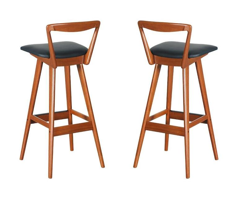 Pair Of Henry Rosengren Hansen Teak Bar Stools For Brande