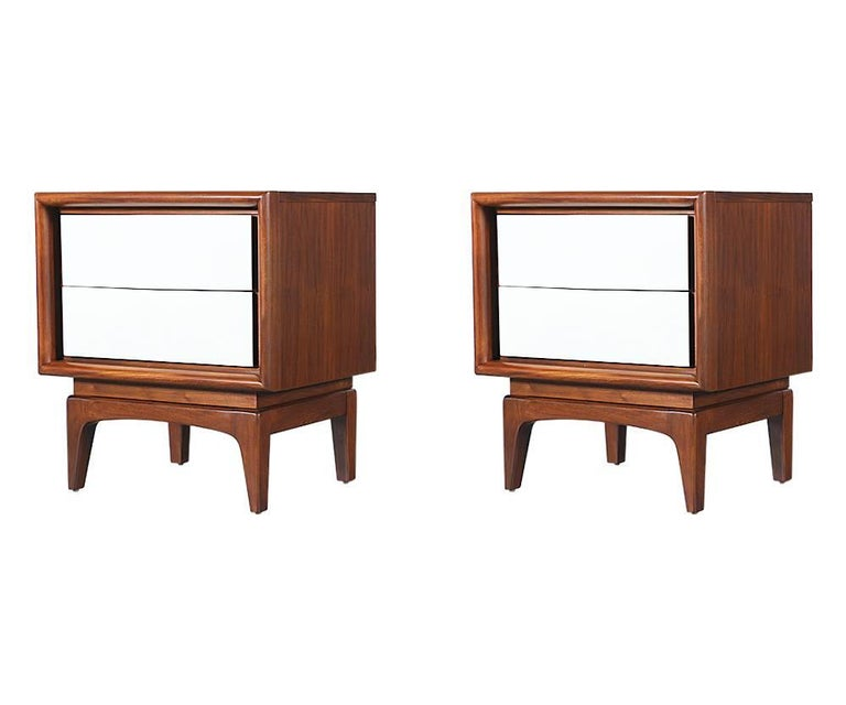 Mid Century Two Tone Lacquer And Walnut Night Stands At 1stdibs