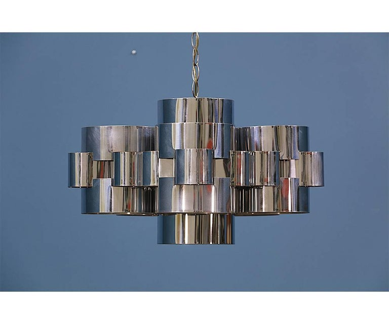 "Curtis Jere ""Cloud"" Chrome Chandelier for Artisan House 2"