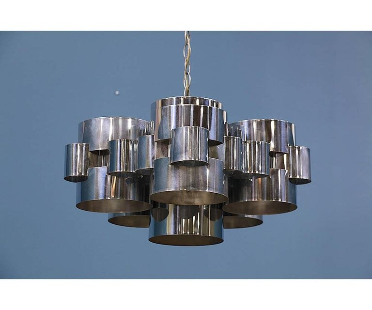 "Curtis Jere ""Cloud"" Chrome Chandelier for Artisan House 5"