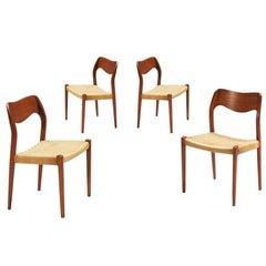 Arne Hovmand-Olsen Model #71 Teak and Rope Dining Chairs for J.L. Moller