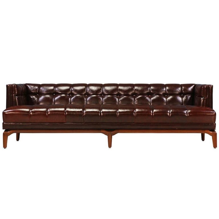 Maurice Bailey Biscuit-Tufted Leather Sofa for Monteverdi-Young For Sale
