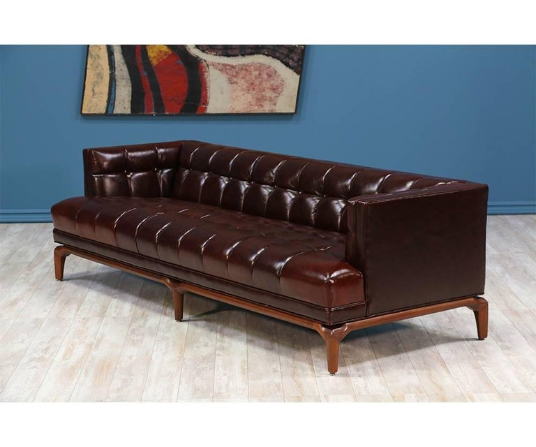 Mid-Century Modern Maurice Bailey Biscuit-Tufted Leather Sofa for Monteverdi-Young For Sale