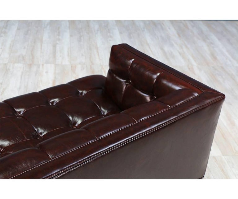 Maurice Bailey Biscuit-Tufted Leather Sofa for Monteverdi-Young For Sale 4
