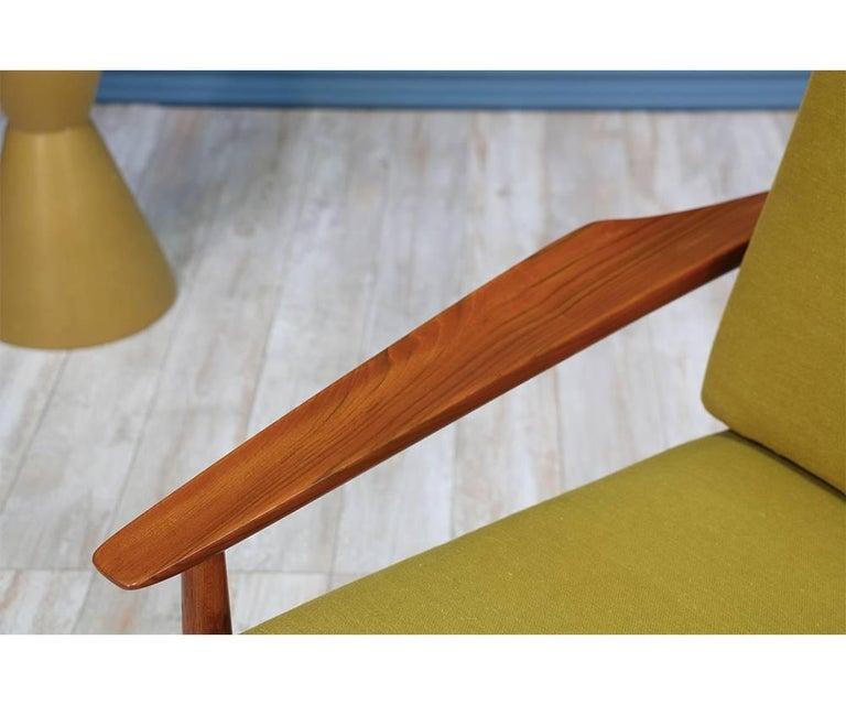 Fabric Svend Åge Eriksen Three-Seat Teak Sofa for Glostrup Møbelfabrik For Sale
