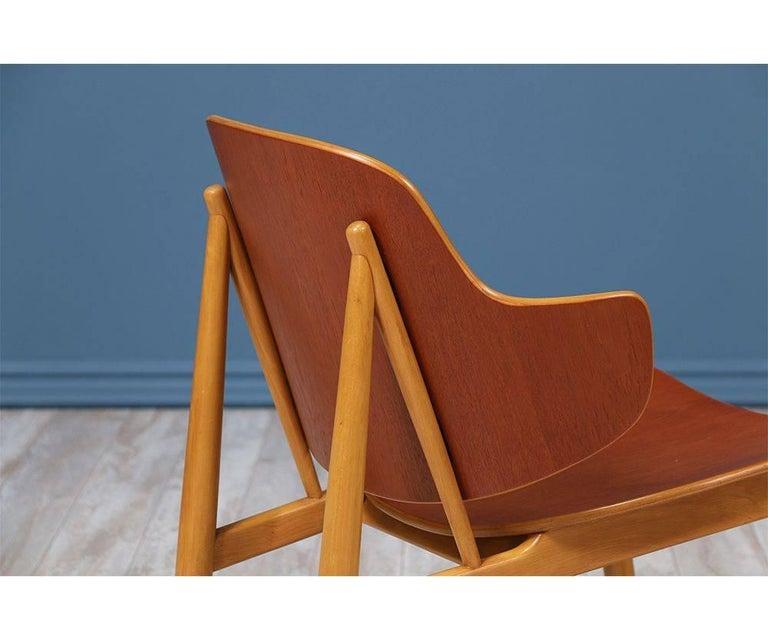 Beech Ib Kofod-Larsen Shell Chairs for Christiansen & Larsen For Sale