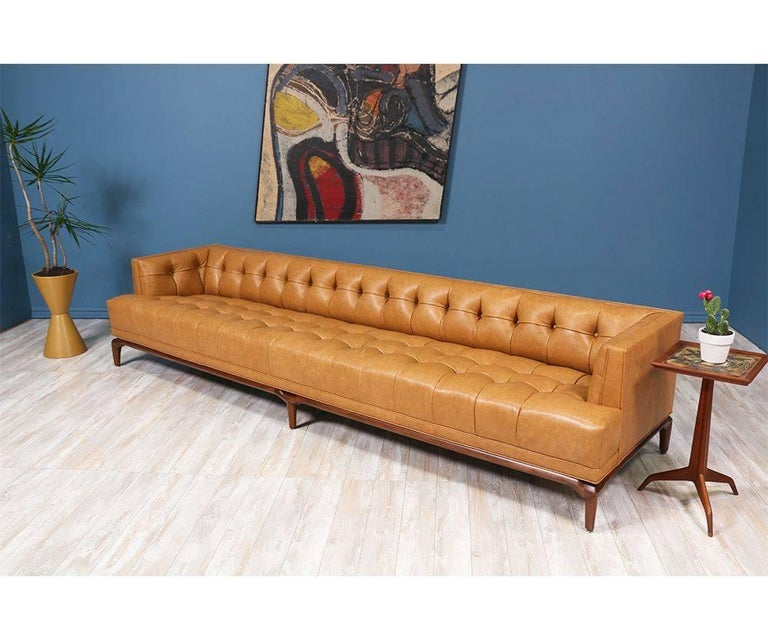 Mid-Century Modern Biscuit-Tufted Leather Sofa by Maurice Bailey for Monteverdi-Young For Sale