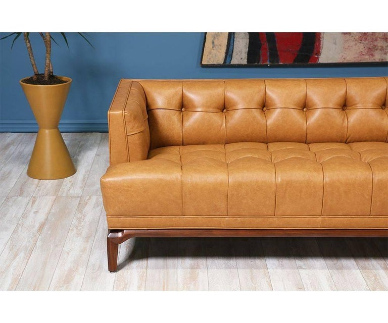 American Biscuit-Tufted Leather Sofa by Maurice Bailey for Monteverdi-Young For Sale