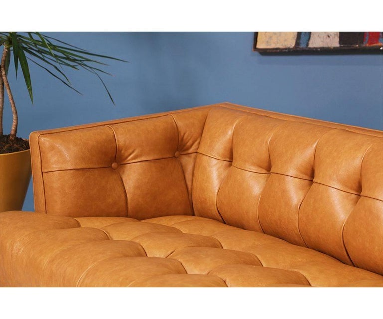 Biscuit-Tufted Leather Sofa by Maurice Bailey for Monteverdi-Young For Sale 3