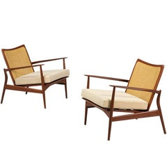 "Ib Kofod Larsen ""Spear"" Teak Lounge Chairs with Cane Backrest"