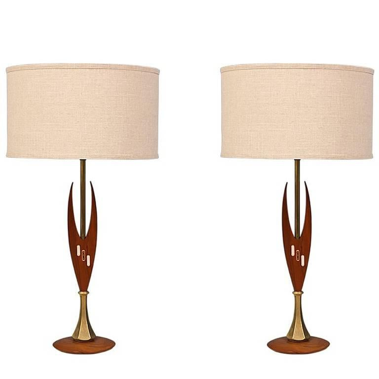Midcentury Sculpted Walnut and Inlaid Tile Table Lamps