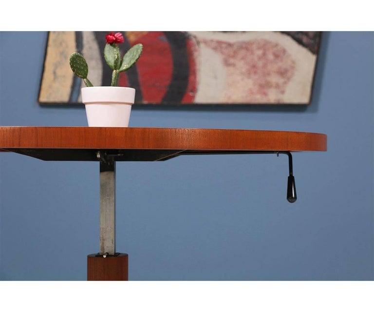 Danish Modern Teak and Steel Height Adjustable Table For Sale 2