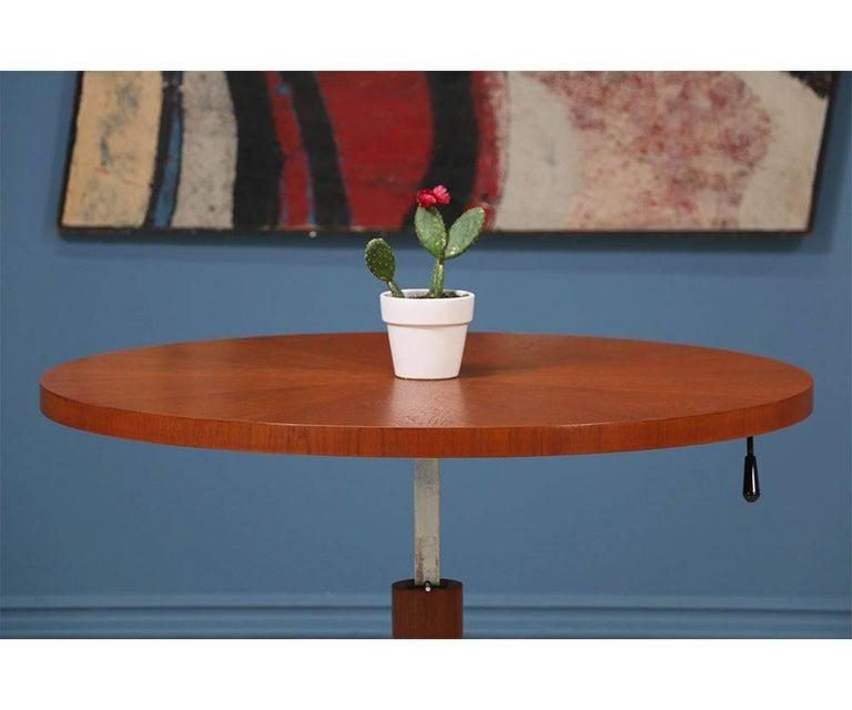 Mid-20th Century Danish Modern Teak and Steel Height Adjustable Table For Sale