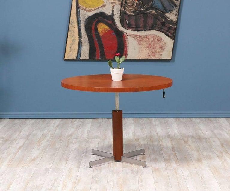 Mid-Century Modern Danish Modern Teak and Steel Height Adjustable Table For Sale