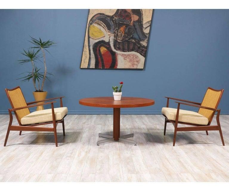 Danish Modern Teak and Steel Height Adjustable Table For Sale 4
