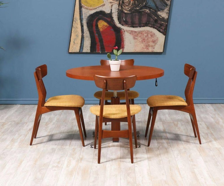 Danish Modern Teak and Steel Height Adjustable Table In Excellent Condition For Sale In Los Angeles, CA