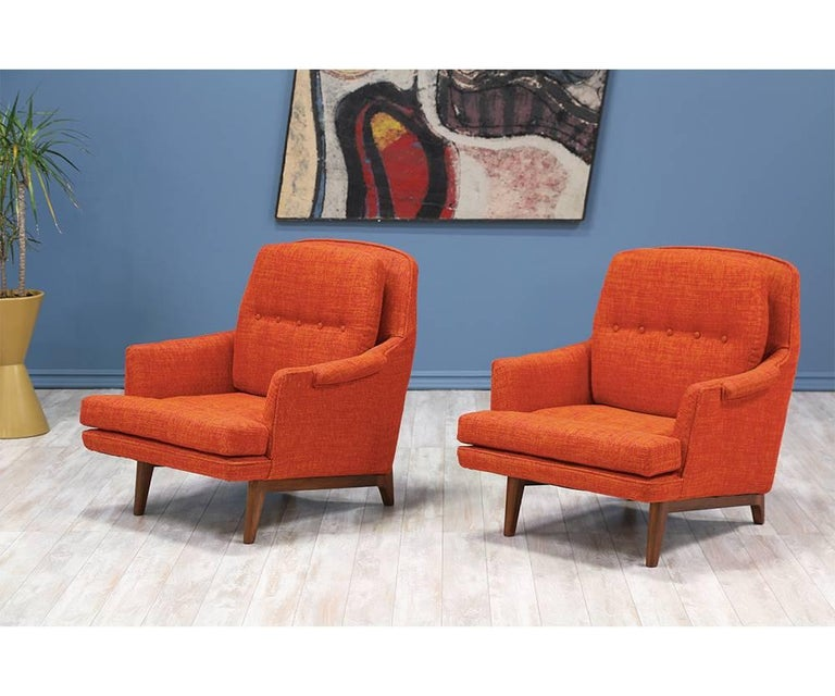 Mid-Century Modern Roger Sprunger Model #484 Easy Lounge Chairs for Dunbar For Sale