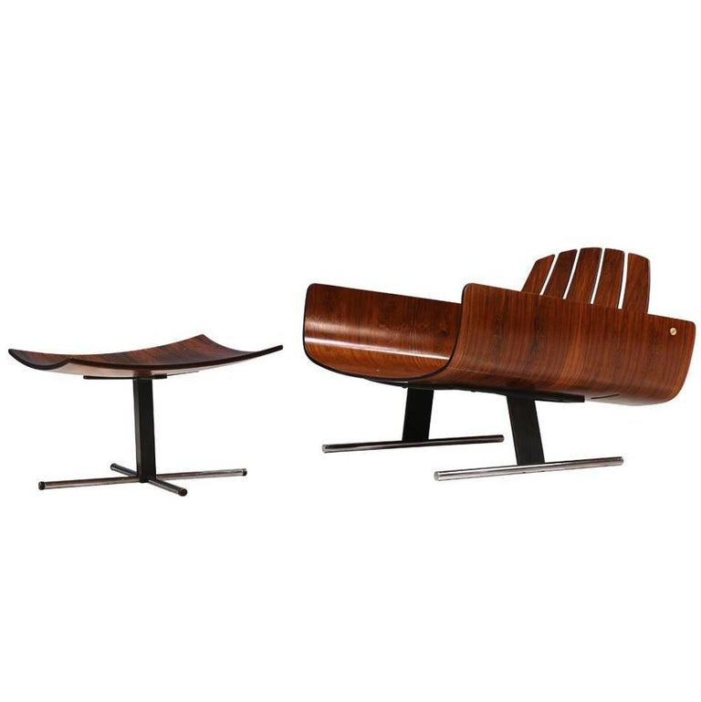 """Jorge Zalszupin """"Presidencial"""" Rosewood Lounge Chair with Ottoman"""
