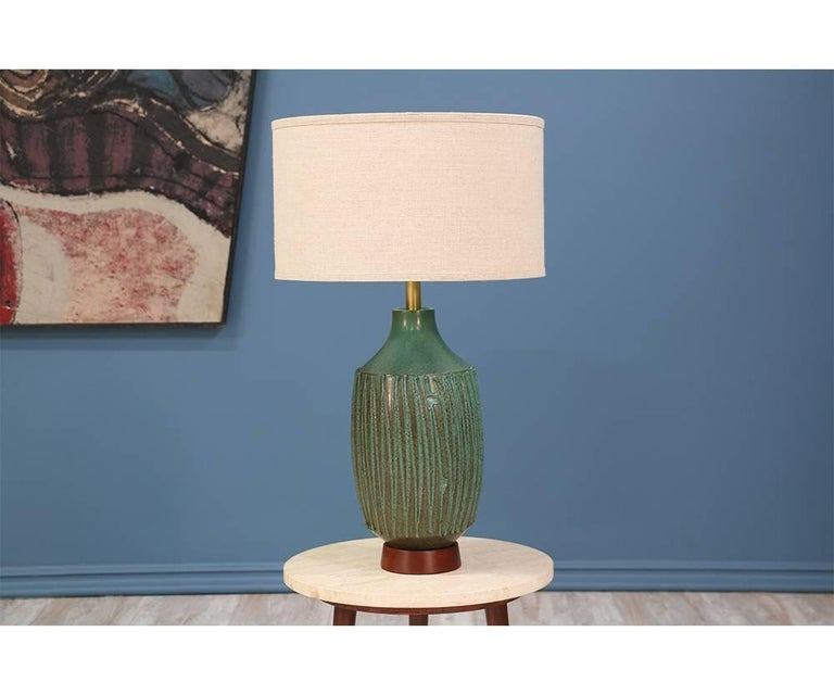 David Cressey Teal Ceramic Table Lamp For Architectural Pottery At