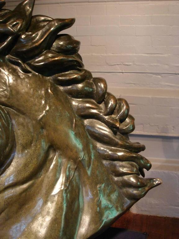 Contemporary Bronze Sculpture of a Life-Size Horse's Head by Abbott Van Dada For Sale 3