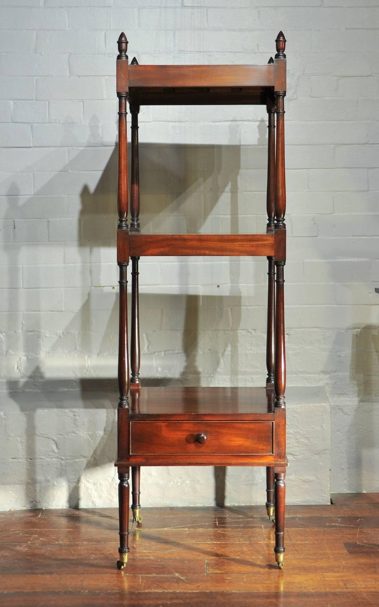 English Early 19th Century Side Table, Mahogany Shelving, Regency Period For Sale