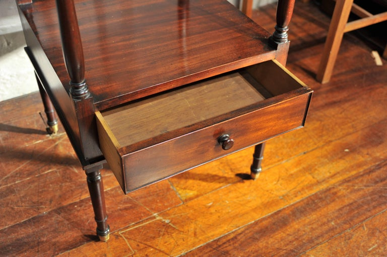 Early 19th Century Side Table, Mahogany Shelving, Regency Period For Sale 4