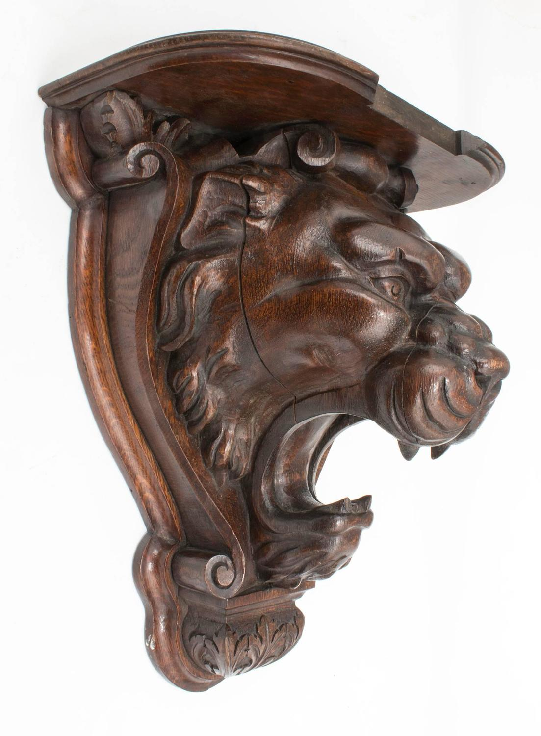 Carved Wood Lion Wall Shelf For Sale At 1stdibs
