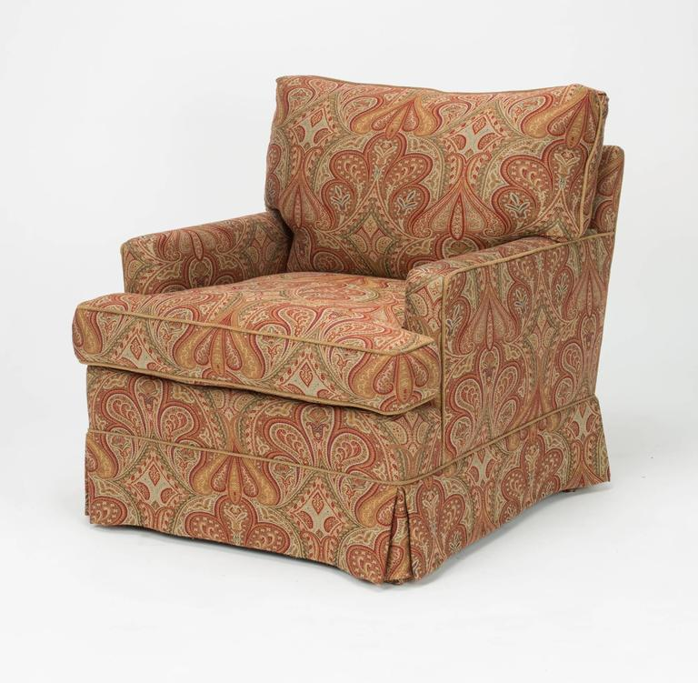 Upholstered Chair And Ottoman chair and ottoman upholstered in wool paisley fabric at 1stdibs