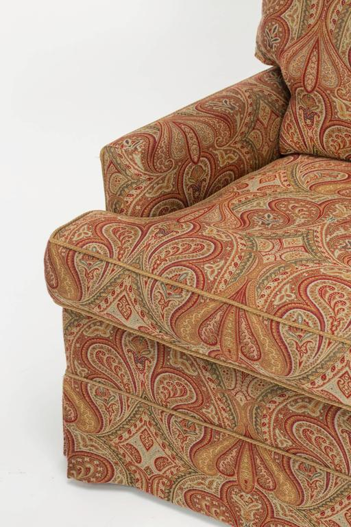 Chair And Ottoman Upholstered In Wool Paisley Fabric At