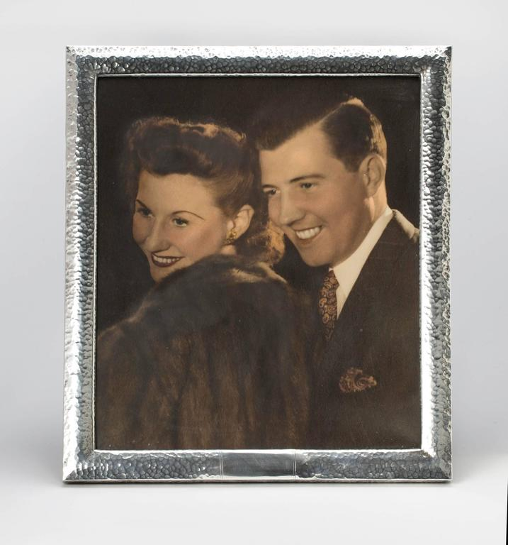Large 10x14 sterling silver frame, handmade, hand-hammered. Beautiful large size frame to fit 10x12 photo. Velvet easel backing. C. 1940s