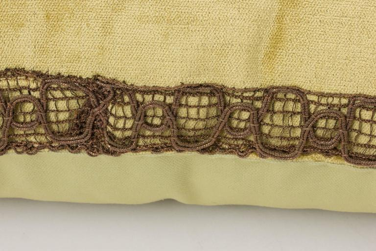 Antique Gold Decorative Pillows : Decorative Pillow Trimmed with Antique Gold Metal Flower For Sale at 1stdibs