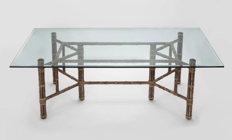 glass dining room tables for sale | McGuire Rectangular Glass and Bamboo Dining Room Table and ...