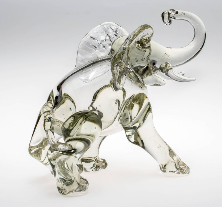Hand-Crafted Murano Glass Elephant Figurine For Sale