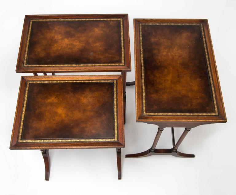Leather Nesting Tables ~ Leather top nesting tables set of three at stdibs