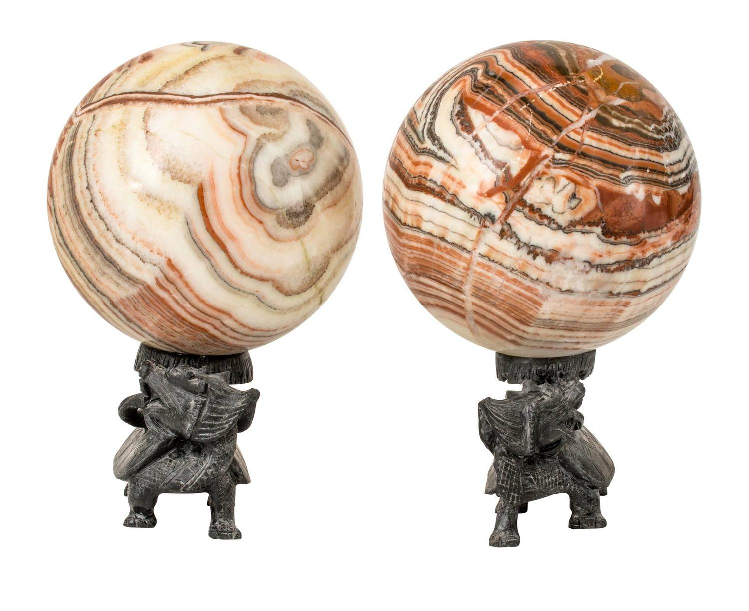Pair of large marble specimen spheres on stands for sale