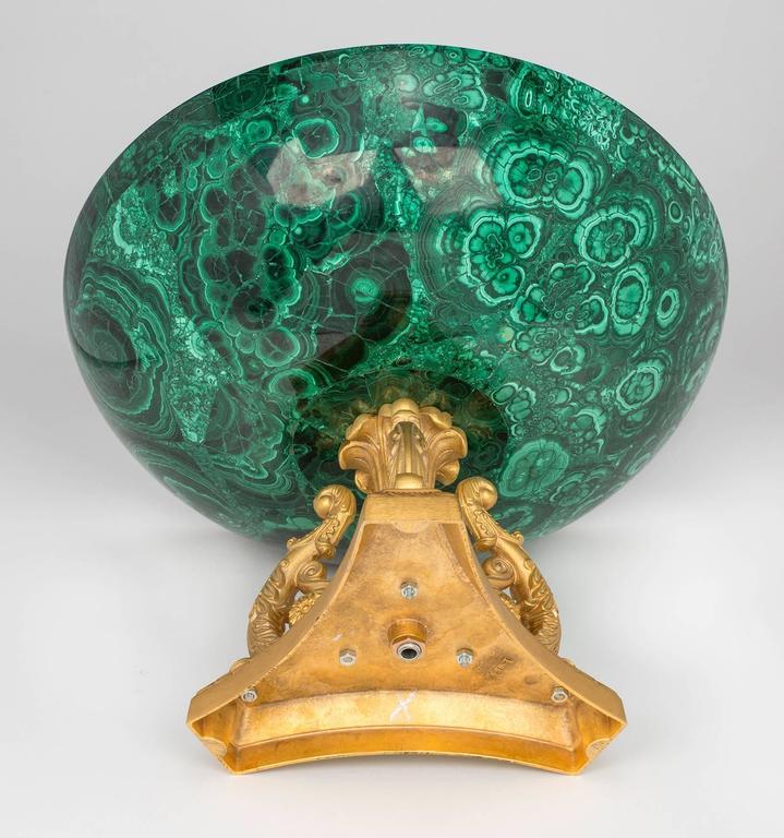 Malachite and Gilt Bronze Doré Center Bowl For Sale 3