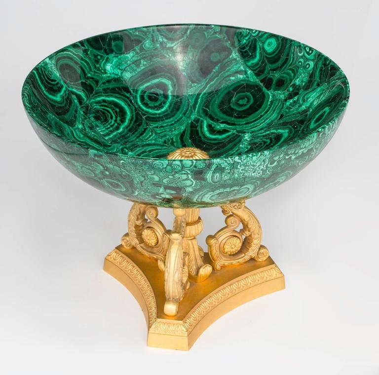 Malachite and Gilt Bronze Doré Center Bowl In Excellent Condition For Sale In Summerland, CA