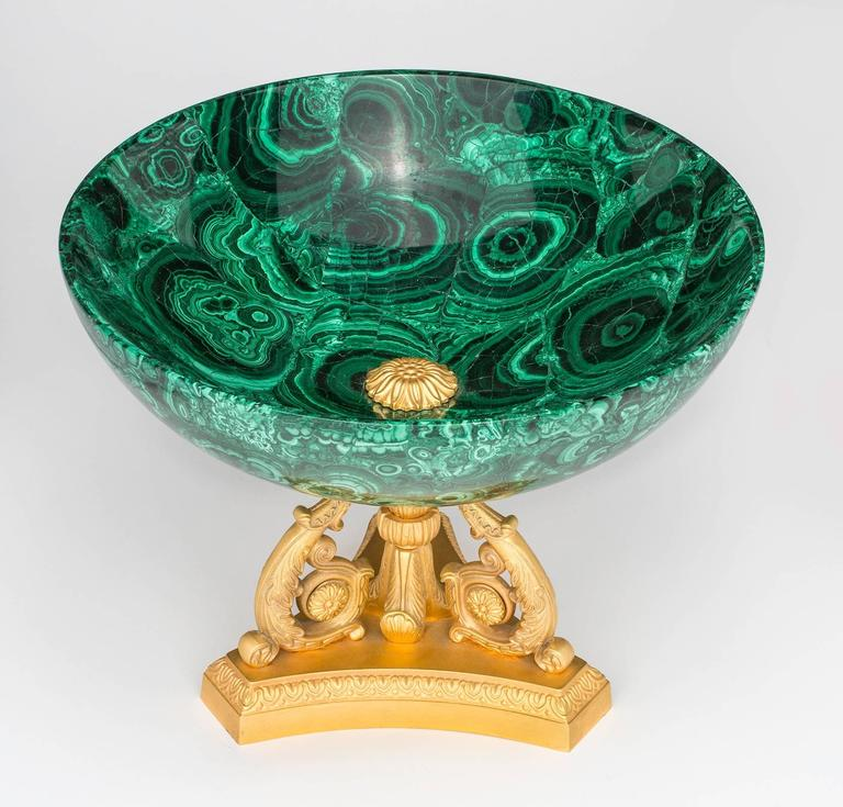 Fabulous solid Russian malachite bowl on footed triple scroll in gilt bronze doré stand. A very large dramatic piece for your table. Excellent condition.