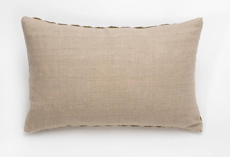 Antique Metallic Gold and Vintage Linen Pillow In Excellent Condition For Sale In Summerland, CA