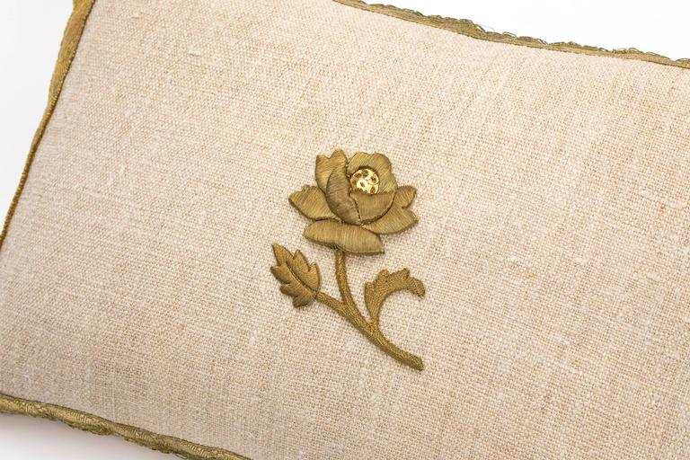 19th Century Antique Metallic Gold and Vintage Linen Pillow For Sale