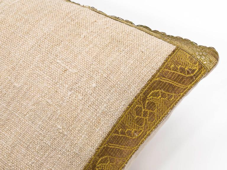 Antique Metallic Gold and Vintage Linen Pillow For Sale 3