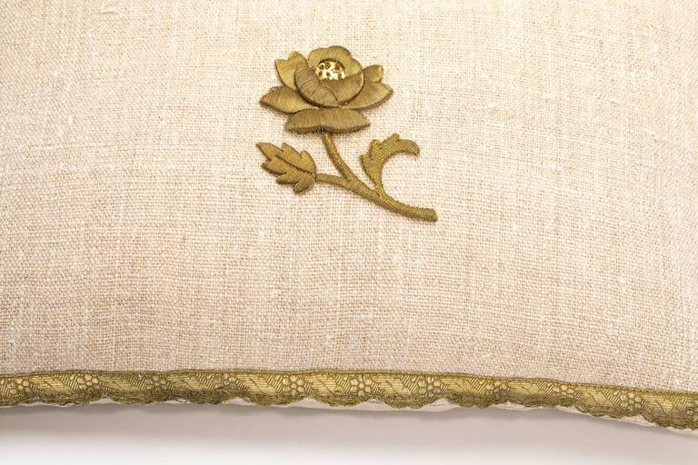 Antique Metallic Gold and Vintage Linen Pillow For Sale 1
