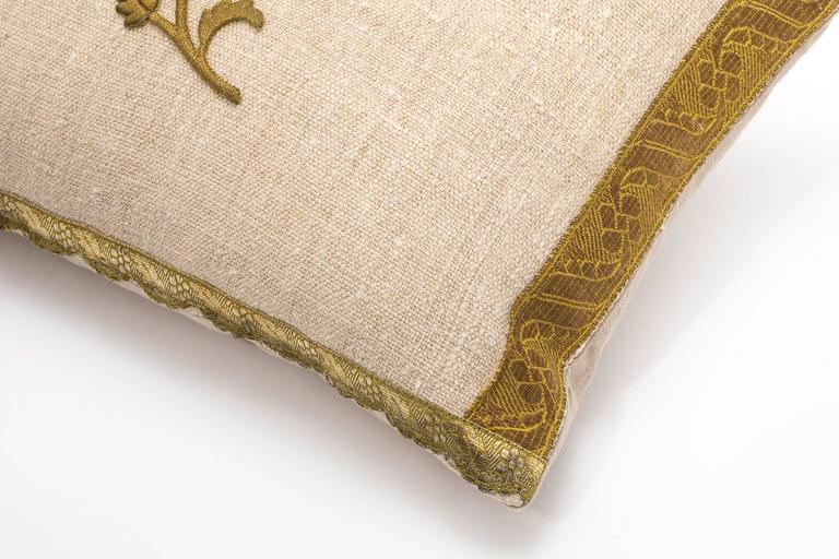 Antique Metallic Gold and Vintage Linen Pillow For Sale 2