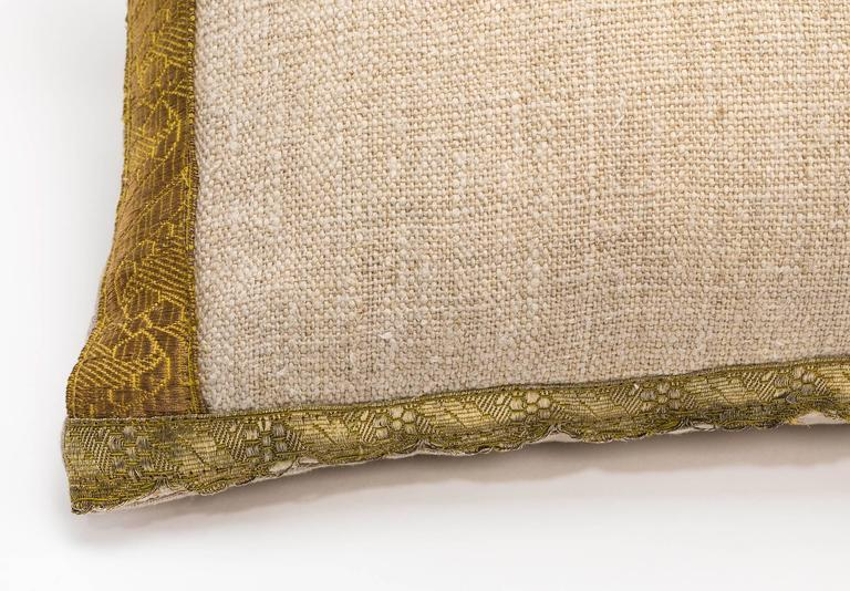Antique Metallic Gold and Vintage Linen Pillow For Sale 4