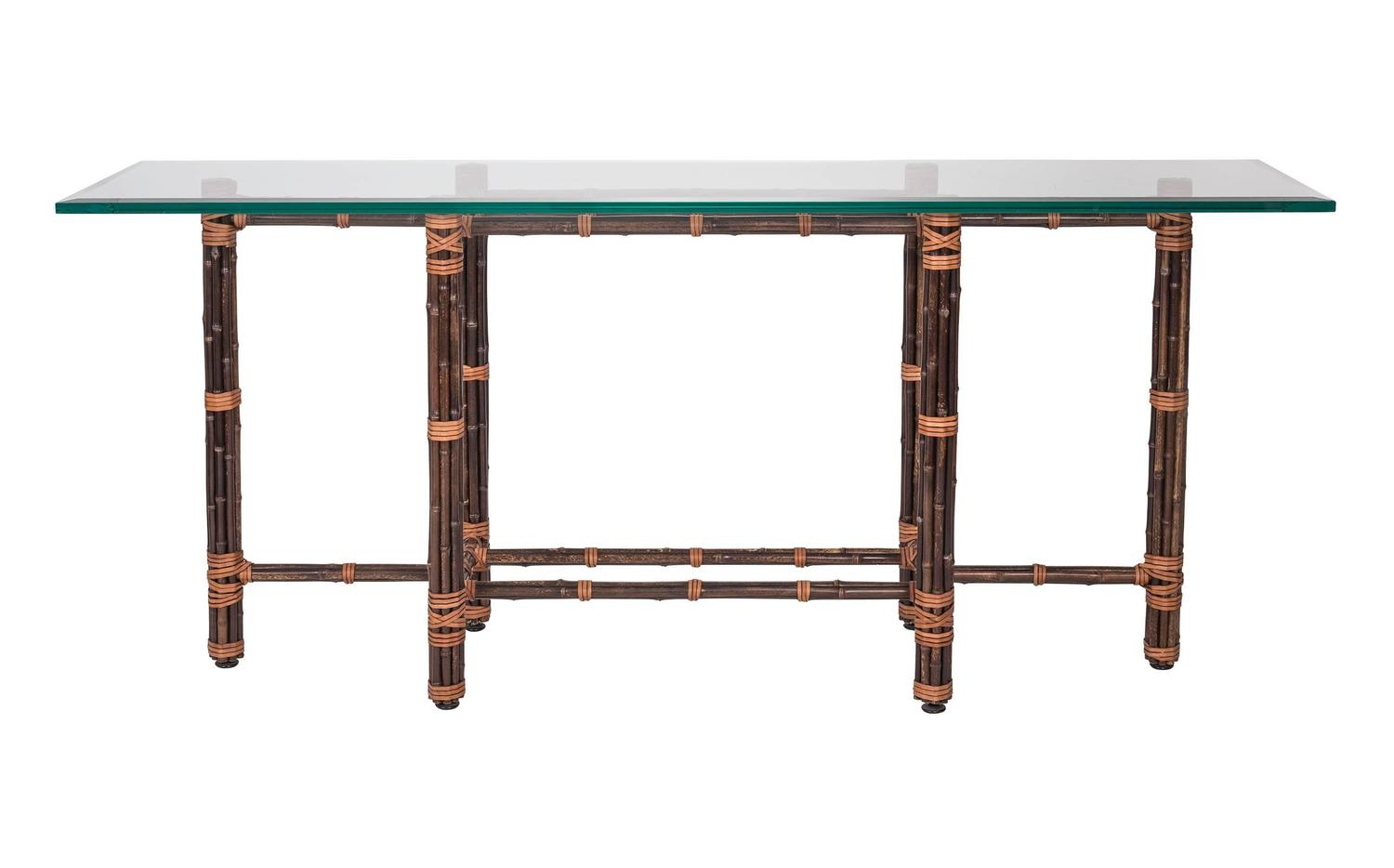 Bamboo Glass Top Sofa Table By Mcguire For Sale At 1stdibs