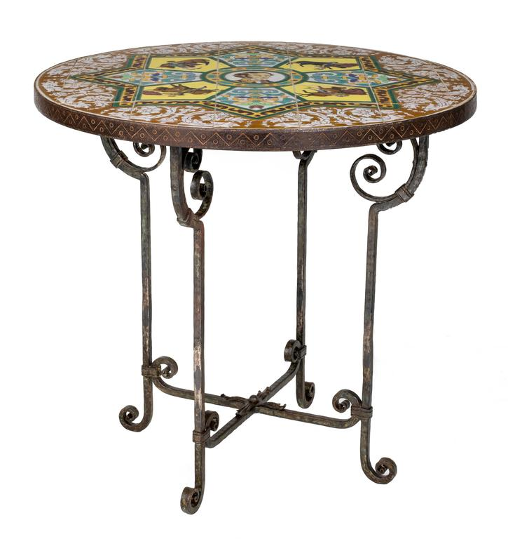 1930s Round Tiled Top, Iron Base Spanish Bull Fighter Table