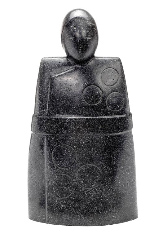 Serene peaceful abstract figure in black cast stone by Masatoyo Kishi. (b.1924). Signed Kuki, numbered 32/200.