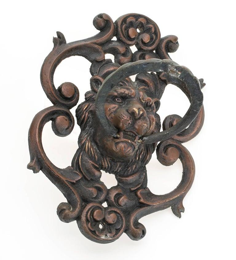 Antique Bronze Lion Face Door Knocker In Good Condition For Sale In Summerland, CA